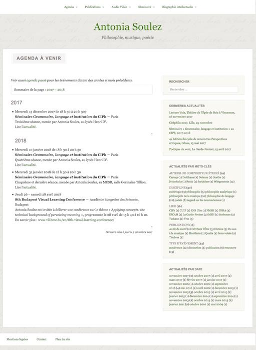 Site Antonia Soulez. Page Agenda à venir