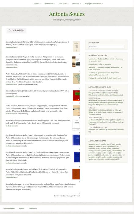 Site Antonia Soulez. Exemple de page Publications