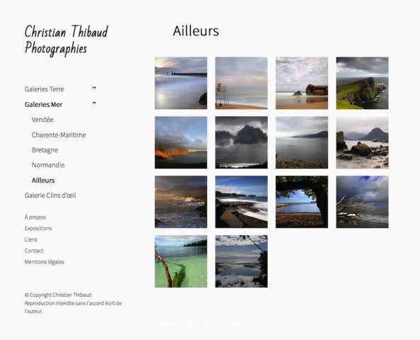 Site Christian Thibaud Photographies. Accueil d'une galerie photos