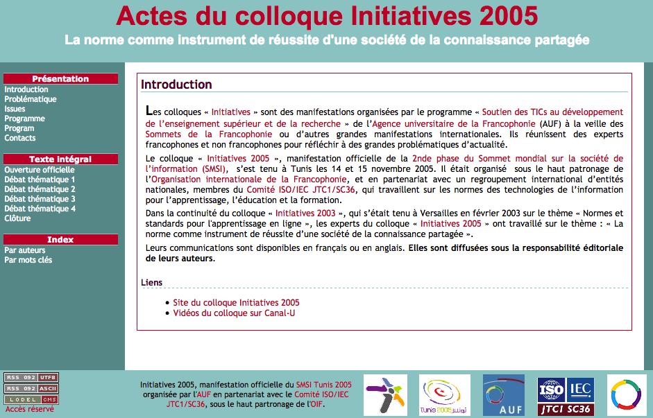 Site des actes du colloque Initiatives 2005. Page d'accueil
