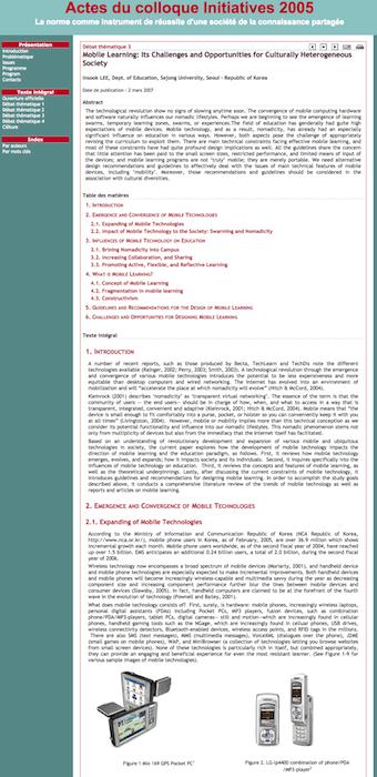 Site des actes du colloque Initiatives 2005. Exemple de communication (début)