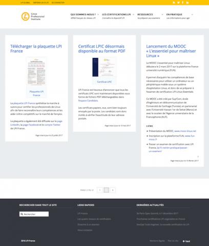 Site LPI France. Page d'accueil, avec les actualités