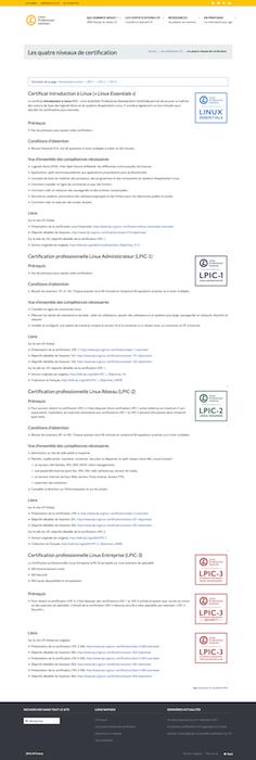Site LPI France. Présentation des certifications LPI