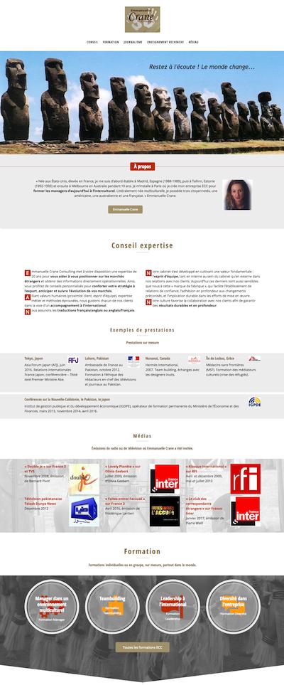 Site ECC. Page d'accueil, première moitié
