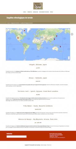 Site ECC. Carte des enquête ethnologiques de terrain