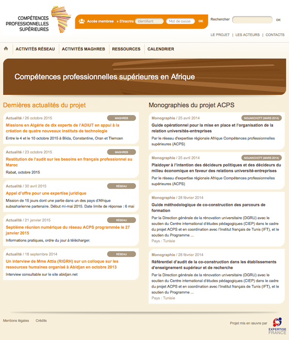 Site ACPS. Page d'accueil