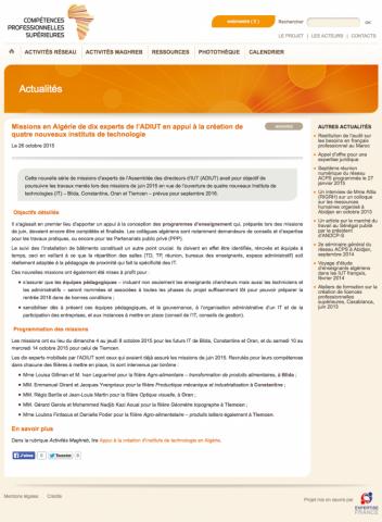 Site ACPS. Exemple d'actualité