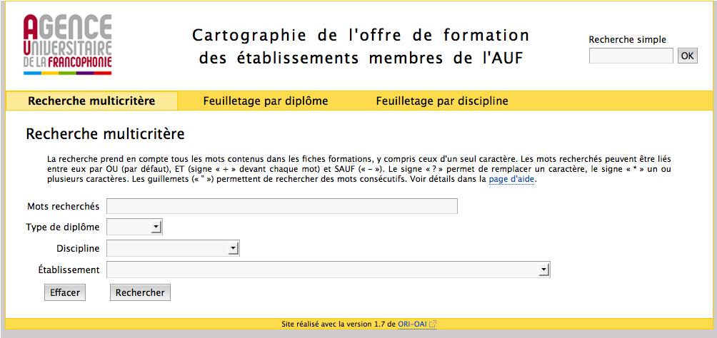 Maquette cartographie AUF. Accueil