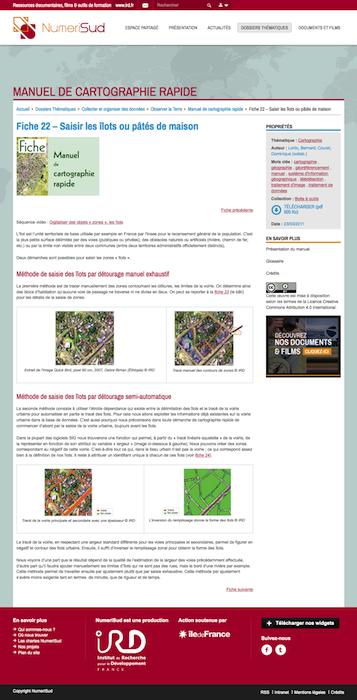 Manuel de cartographie rapide de l'IRD. Exemple de fiche